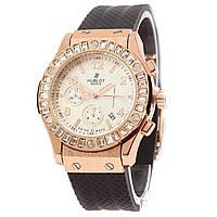 Наручные женские часы Hublot Crystal Women Gold-Black White Dial