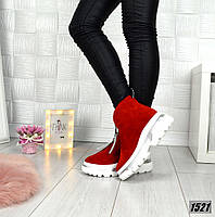 Демисезонные замшевые красные ботинки спортивного стиля, фото 1