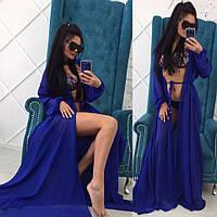 Длинная пляжная накидка шифон, синяя, фото 1
