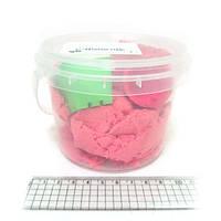 Набор кинетический песок в пластик.ведерке 300г с форм. 3шт., mix6 (кварц.основа)