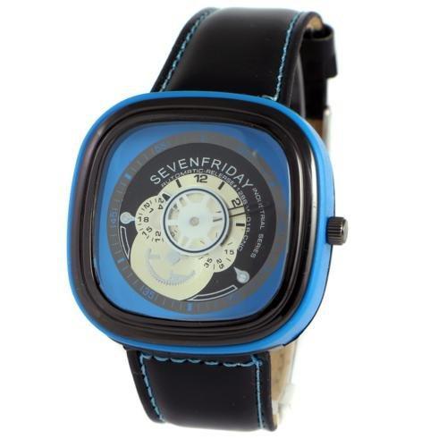 Наручные мужские часы Sevenfriday Leather Sky-Blue-Black