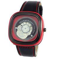 Наручные мужские часы Sevenfriday Leather Red-Black