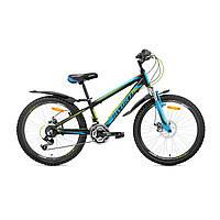 """Велосипед подростковый Avanti Sprinter Disk 24""""  (черно-голубой с зеленым)"""