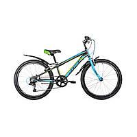 """Велосипед подростковый Avanti Sprinter V-brake 24"""" (черно-голубой с зеленым)"""