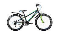 """Велосипед подростковый Intenzo Energy V-brake 24"""" (черно-салатовыйй с голубым)"""