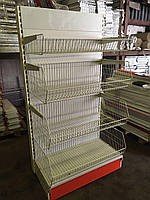 Стеллаж торговый с корзинными полками в магазин, фото 1
