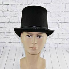 Шляпа Цилиндр высокий фетр 15 см (черный) р56-60