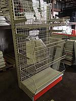 Стеллаж торговый с сетчатой решетчатой задней стенкой и корзинными полками в магазин, фото 1