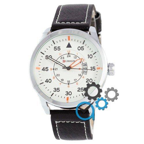 Наручные мужские часы Curren Silver-Black White dial 8210-2