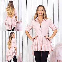 Шикарная женская блуза на пуговицах со шлейфом 42,44,46