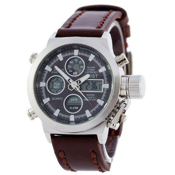 Наручные мужские часы AMST Silver-Black Brown Wristband