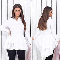 Шикарная женская блуза на пуговицах со шлейфом 48,50,52,54
