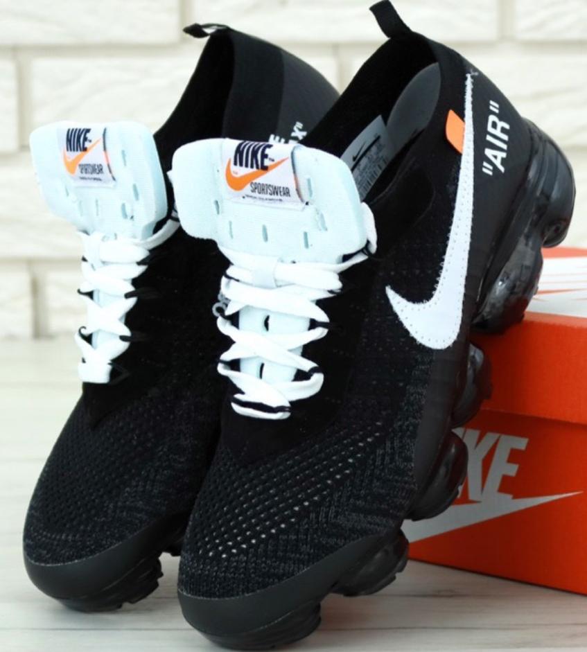 Мужские Кроссовки Nike Air VaporMax Off White, Найк Вапор Макс Черные