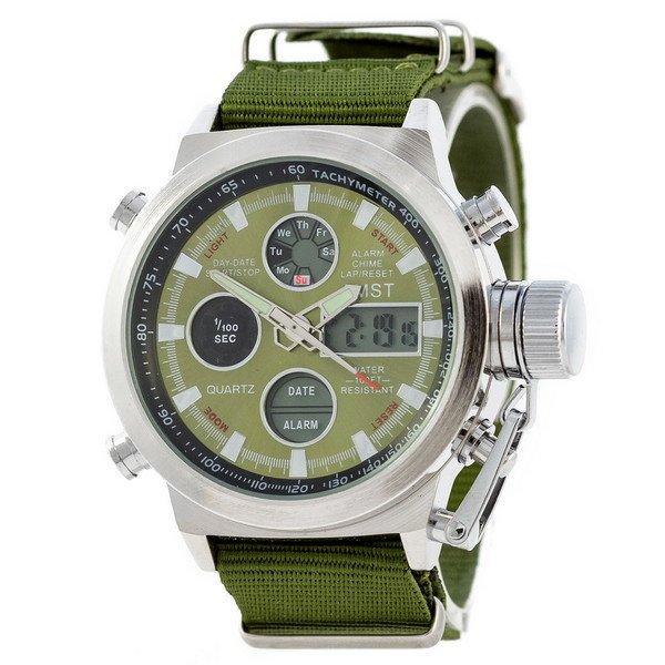 Наручные мужские часы AMST Silver-Green Green Wristband