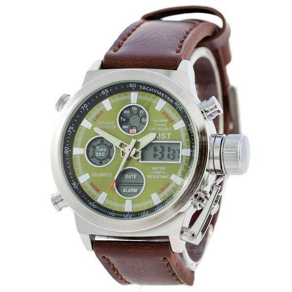 Наручные мужские часы AMST Silver-Green Brown Wristband
