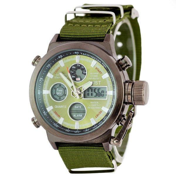Наручные мужские часы AMST Black-Green Green Wristband