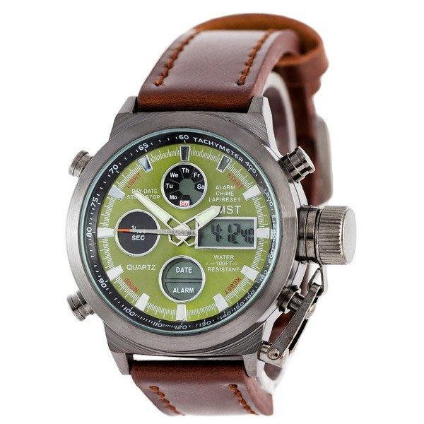 Наручные мужские часы AMST Black-Green Brown Wristband