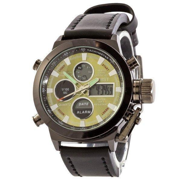 Наручные мужские часы AMST Black-Green Black Wristband