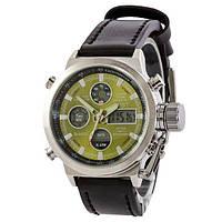 Наручные мужские часы AMST Silver-Green Black Wristband