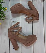 Туфли замшевые на устойчивом каблучке цвета пудры ремешок вокруг ножки переплет Код 2014, фото 2