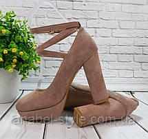 Туфли замшевые на устойчивом каблучке цвета пудры ремешок вокруг ножки переплет Код 2014, фото 3