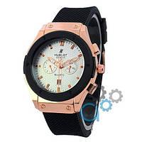 Наручные мужские часы Hublot Classic Fusion Quartz Black-Gold-Black-White