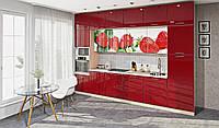 Кухня под потолок  красный глянец/белый глянец с фотопечатью