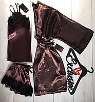 Одежда для сна и отдыха-атласный комплект тройка с кружевом.