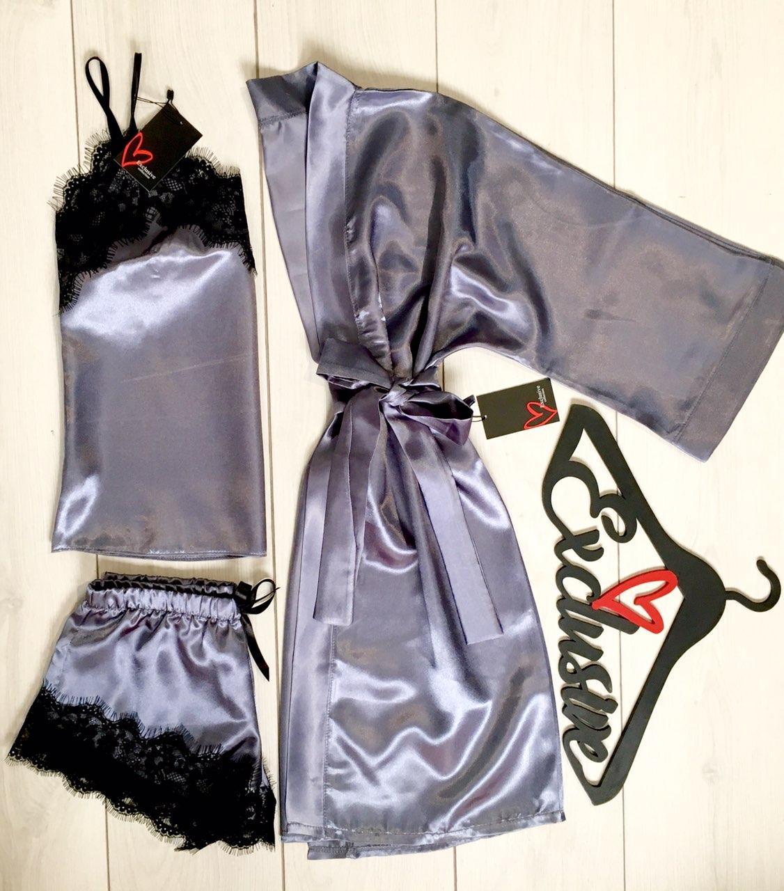 Атласный комплект тройка с кружевом, Халат+майка+шорты.