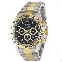 Наручные мужские часы Rolex Daytona Quartz Date Silver-Gold-Black
