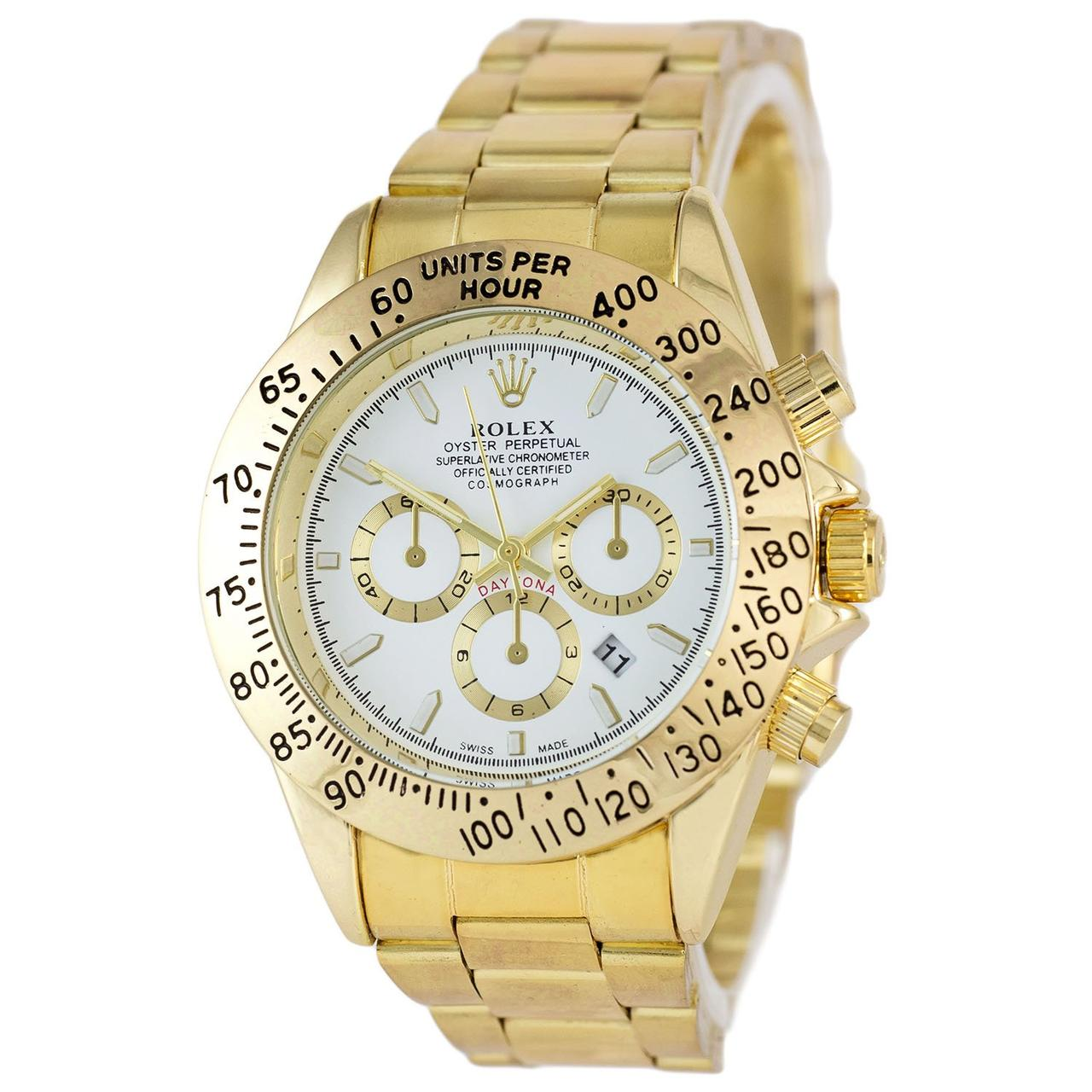 Наручные мужские часы Rolex Daytona Quartz Date Gold-White