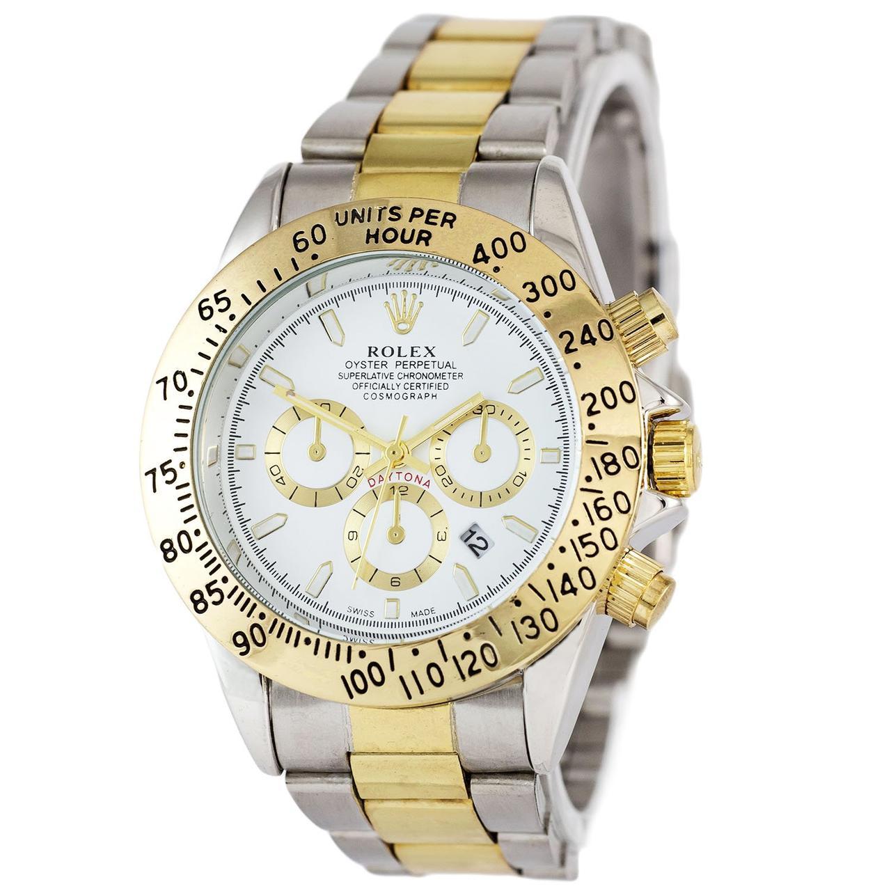 Наручные мужские часы Rolex Daytona Quartz Date Silver-Gold-White