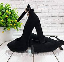 Туфли замшевые на устойчивом каблучке черные ремешок вокруг ножки застежка Код 2015, фото 3
