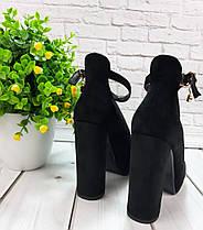 Туфли замшевые на устойчивом каблучке черные ремешок вокруг ножки застежка Код 2015, фото 2