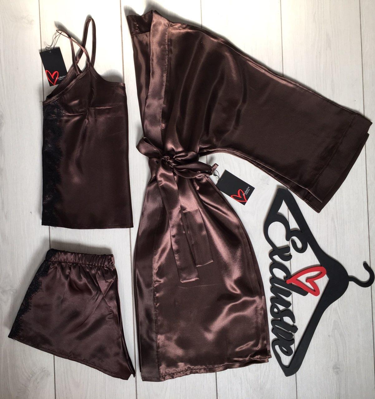 Шоколадный атласный комплект для дома, халат и пижама.