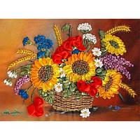 Корзина летних цветов. Марічка. Набор для вышивания лентамилентами