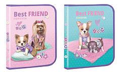 Папка для тетрадей В5 Kidis Best Friend 13662-0310, на молнии, картон