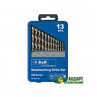 Набор сверл по металлу 1,5-6,5мм S&R серии GМ HSS в метал. кейсе 13шт (107809130)