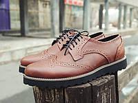 Туфли мужские кожаные броги / Onyx коричневые