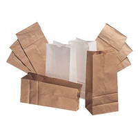 Пакеты подарочные бумажные 85х65х190 с плоским дном чай кофе мука косметика (эко крафт коричневый, 70гр/м2)