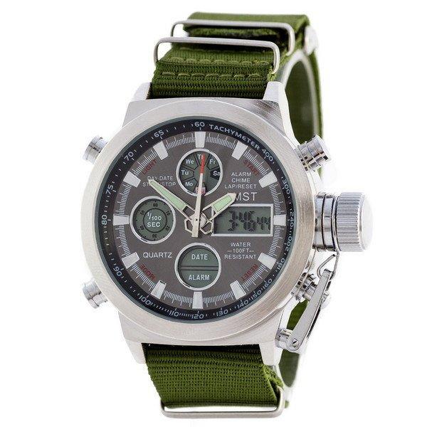 Наручные мужские часы AMST C Silver-Black Green Wristband