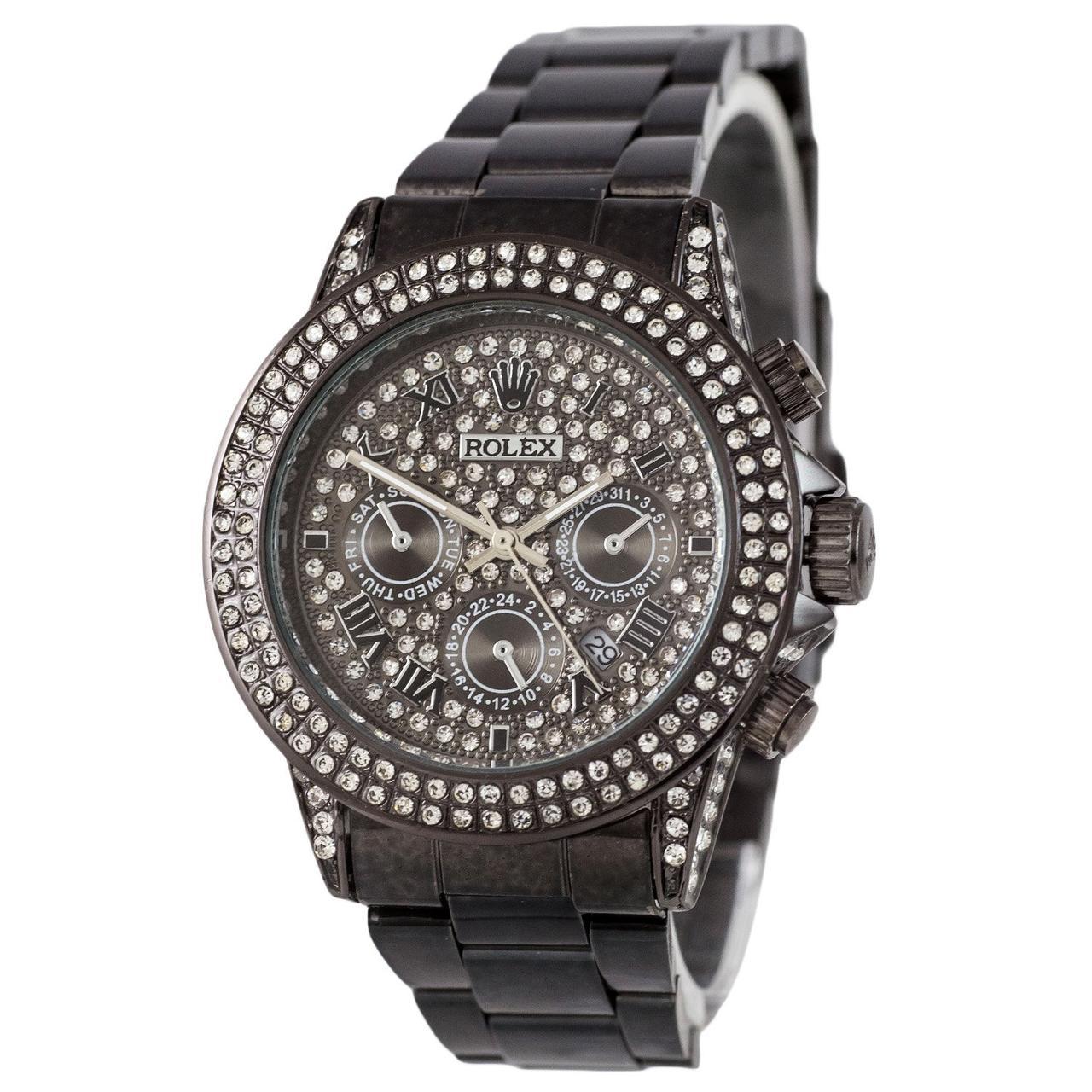 Наручные мужские часы Rolex Women Diamonds Date All Black
