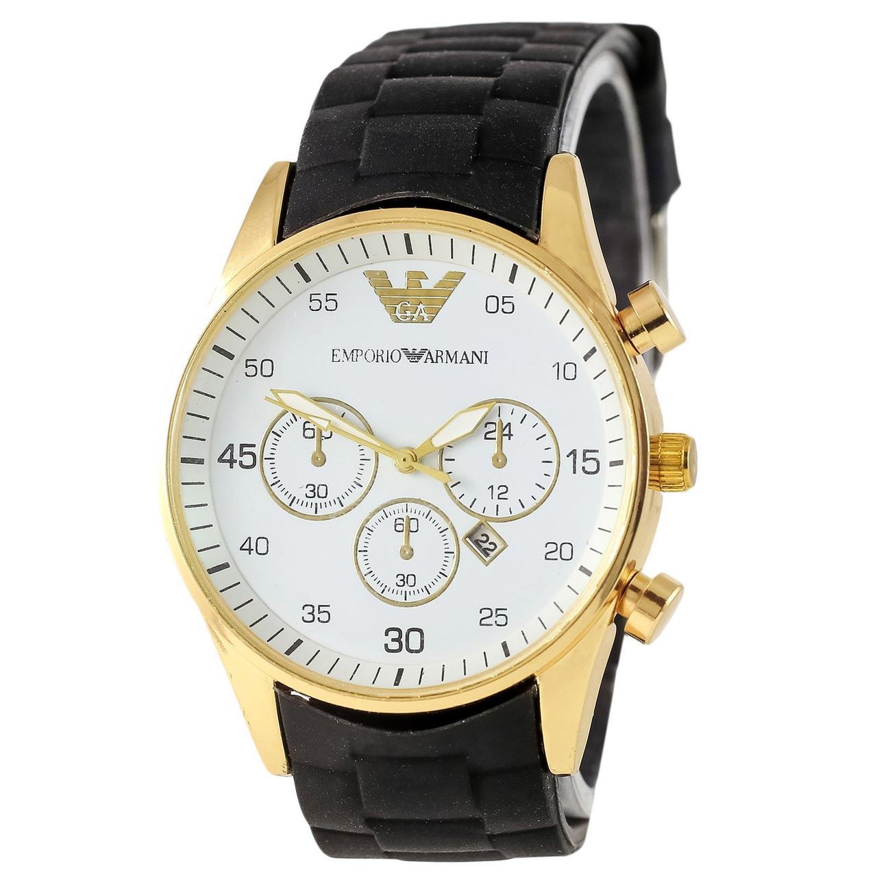 Наручные мужские часы Armani 6990 Black-Gold-White Silicone