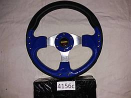 Спортивный руль 4156 3 спицы комбинированные синий для авто
