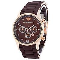 Наручные мужские часы Emporio Armani Silicone Gold-Brown