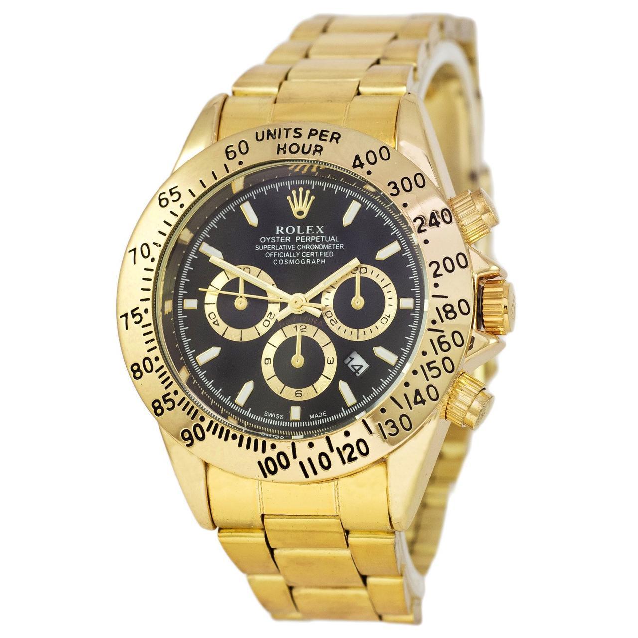 Наручные мужские часы Rolex Daytona Quartz Date Gold-Black