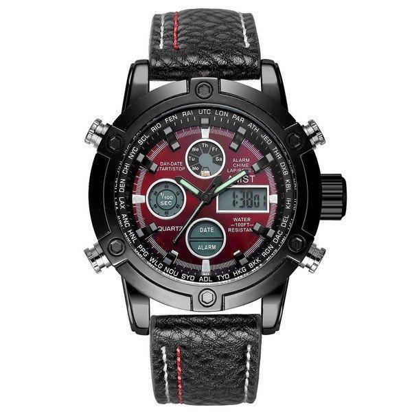 Наручные мужские часы AMST 3022 Black-Red Fluted Wristband