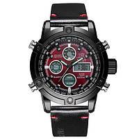 Наручные мужские часы AMST 3022 Black-Red Smooth Wristband