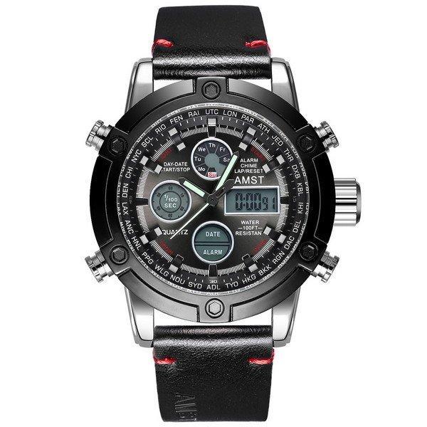 Наручные мужские часы AMST 3022 Silver-Black Smooth Wristband