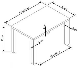 Стол обеденный раскладной Ronald 120-160х80 Белый (Halmar TM), фото 2